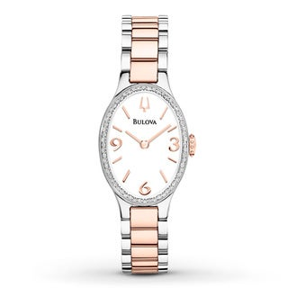 Bulova Women's Diamond Accent Bezel Two-Tone Watch