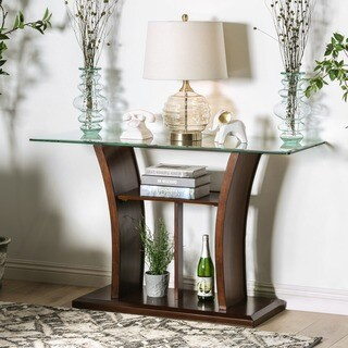 Oliver & James Thon Dark Cherry and Beveled Glass Sofa Table