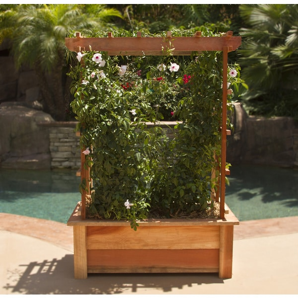 Shop 36 Inch Redwood Planter Box With Arbor Free Shipping Today