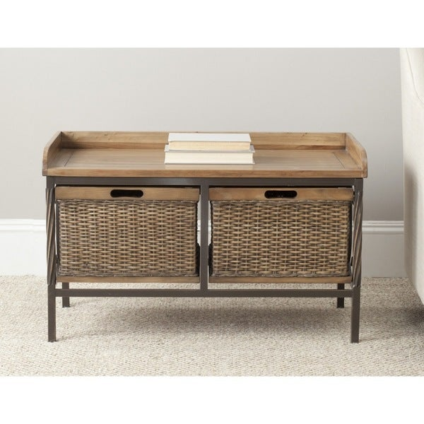 Shop Safavieh Noah Wooden Storage Bench On Sale Free Shipping