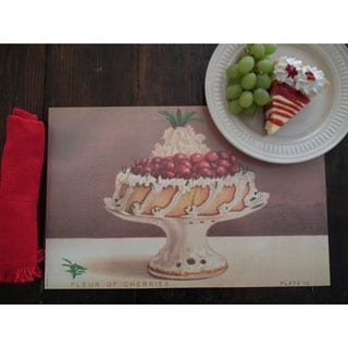 Cherry Cake Stain-resistant Reusable Paper Placemats (Set of 6)