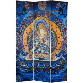6-foot Tall Radiant Tara Tibetan Double-sided Canvas Room Divider