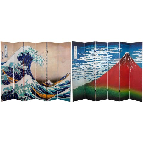 Handmade 6' Great Wave and Red Fuji Hokusai Room Divider