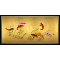 Seven Lucky Fish' Canvas Wall Art - Brown