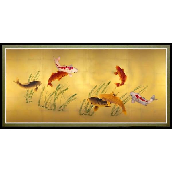 Seven lucky fish canvas wall art
