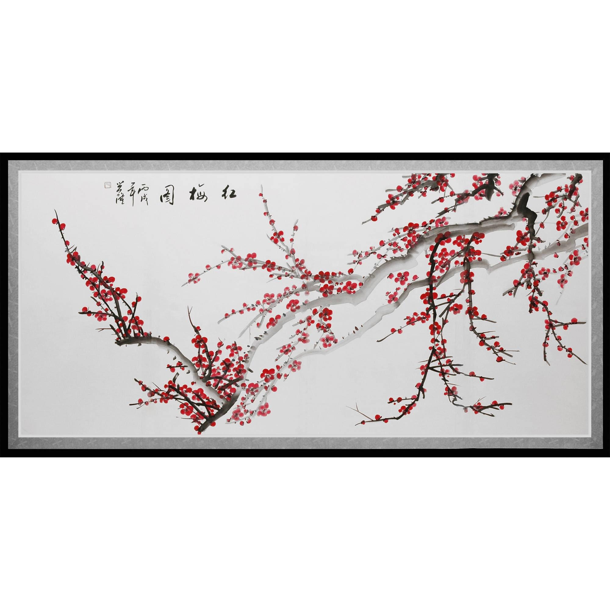 Oriental FURNITURE Plum (Purple) Blossoms Canvas Wall Art...