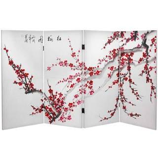Handmade 3' Plum Blossom Canvas Room Divider