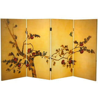3-feet Tall Double-sided 'Birds on Plum Tree' Canvas Room Divider