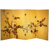 3-feet Tall Double-sided 'Birds on Plum Tree' Canvas Room Divider