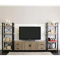 Urban Blend Brown-driftwood-finished Wood, Metal, and Powder-coated Steel 70-inch Entertainment Center