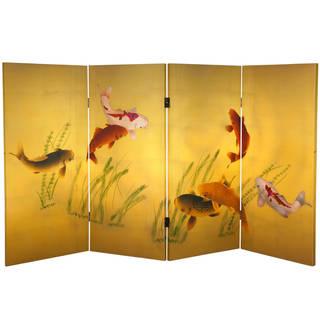 Handmade 3' Seven Lucky Fish Canvas Room Divider