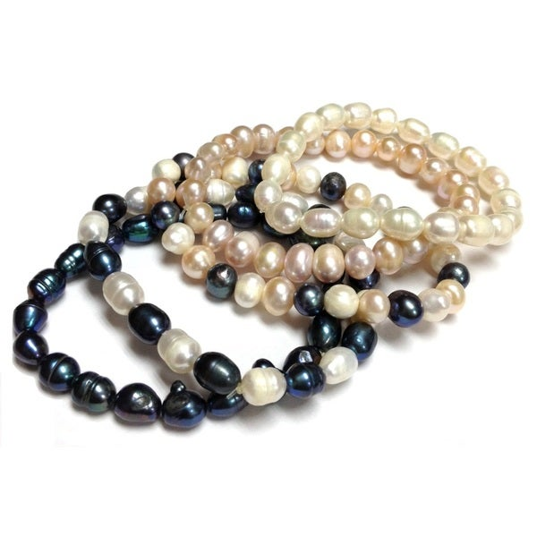 Neda Behnam Sterling Silver Multi-color Freshwater Pearl 5-piece Stretch Bracelet Se
