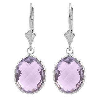 Fremada Sterling Silver Oval Pink Amethyst Drop Earrings