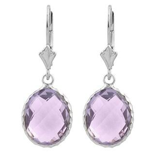 Fremada Sterling Silver Oval Pink Amethyst Drop Earrings