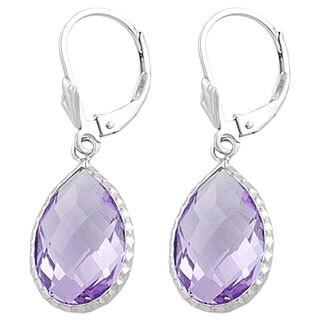 Fremada Sterling Silver Pear-shaped Pink Amethyst Drop Earrings