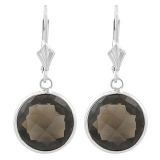 Fremada Sterling Silver 14-mm Round Smokey Quartz Drop Earrings