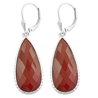 Fremada Sterling Silver Pear-shaped Carnelian Dangle Earrings