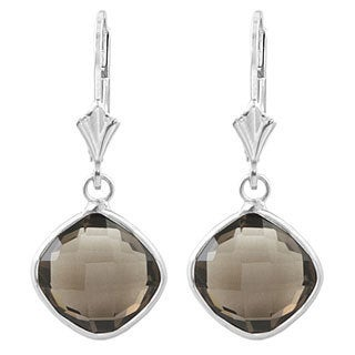 Fremada Sterling Silver Cushion Smokey Quartz Drop Earrings