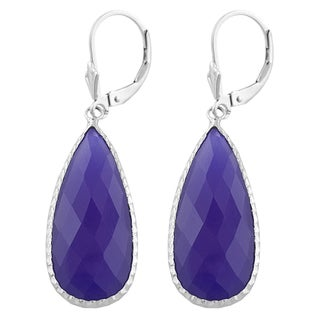 Fremada Sterling Silver Pear-shaped Purple Chalcedony Dangle Earrings