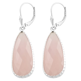 Fremada Sterling Silver Pear Shaped Pink Chalcedony Dangle Earrings