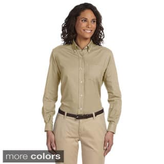 Van Heusen Women's Long Sleeve Wrinkle-resistant Oxford Shirt|https://ak1.ostkcdn.com/images/products/8677002/P15932549.jpg?impolicy=medium