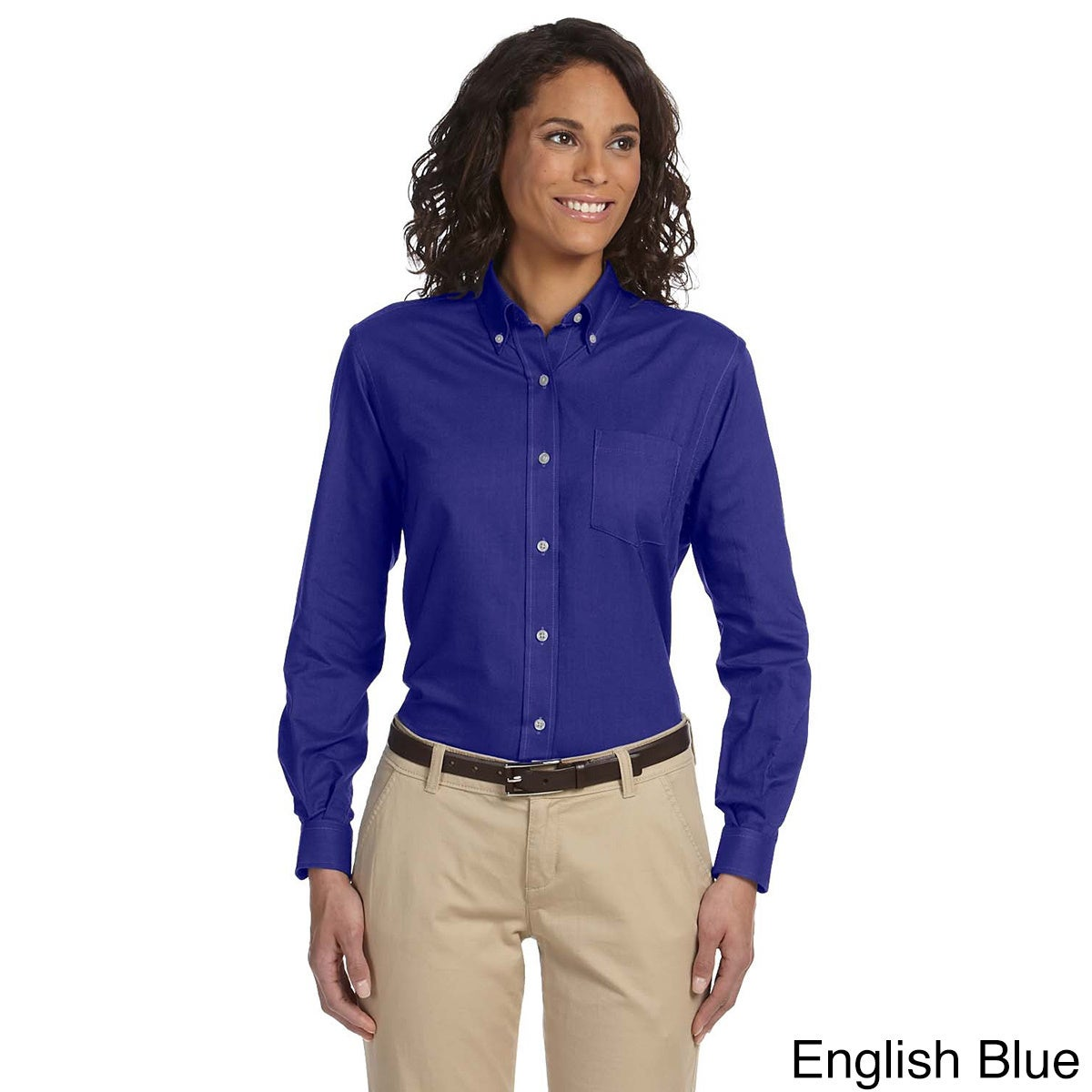 Van Heusen Women's Long Sleeve Wrinkle-resistant Oxford S...