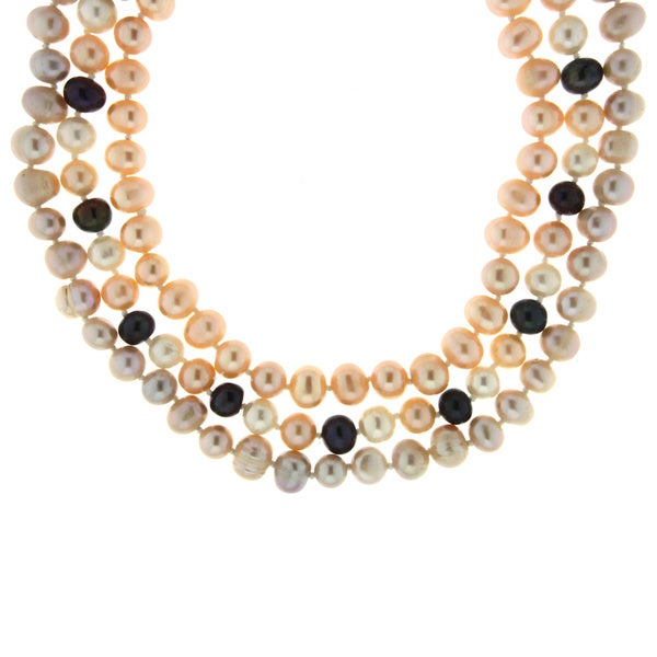 Neda Behnam Sterling Silver Multi-color Freshwater Pearl Necklace Set (7-8 mm)