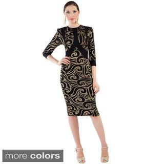 Women's Black and Goldtone Printed Formal Dress