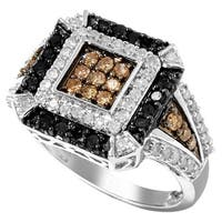 Sterling Silver 1ct TDW Brown, Black and White Tri-color Diamond Ring