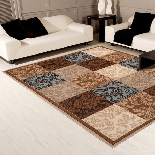 Shop Damask Boxes Blue Brown Area Rug 5 3 Quot X 7 4