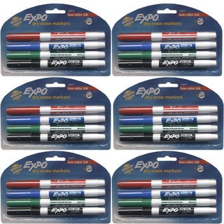 Expo Low Odor Ink Assorted 4-color Fine Tip Dry Erase Markers (Pack of 6)