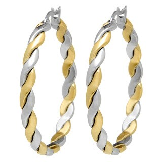 Stainless Steel Two-tone Gold-plated Twisted Rope Hoop Earrings