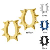 Stainless Steel Spike U-shaped endless Hoop Earrings