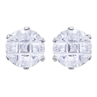 Stainless Steel Cubic Zirconia Multi-faceted Round Grid Earrings