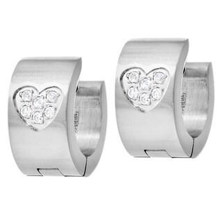 Stainless Steel Cubic Zirconia Pave Set Heart Hoop Hinge Earrings