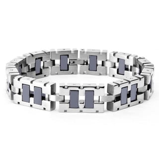 Stainless Steel Two-tone Black-plated Square Link Men's Bracelet