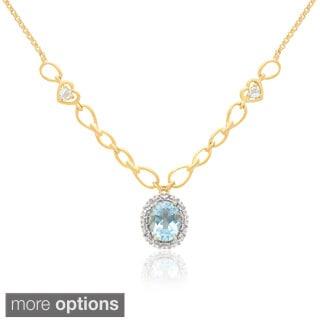 Dolce Giavonna 14k Gold Overlay Gemstone Necklace