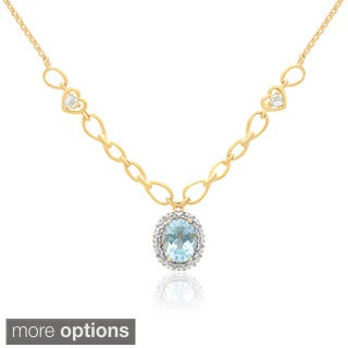 Dolce Giavonna 14k Gold Overlay Gemstone Necklace