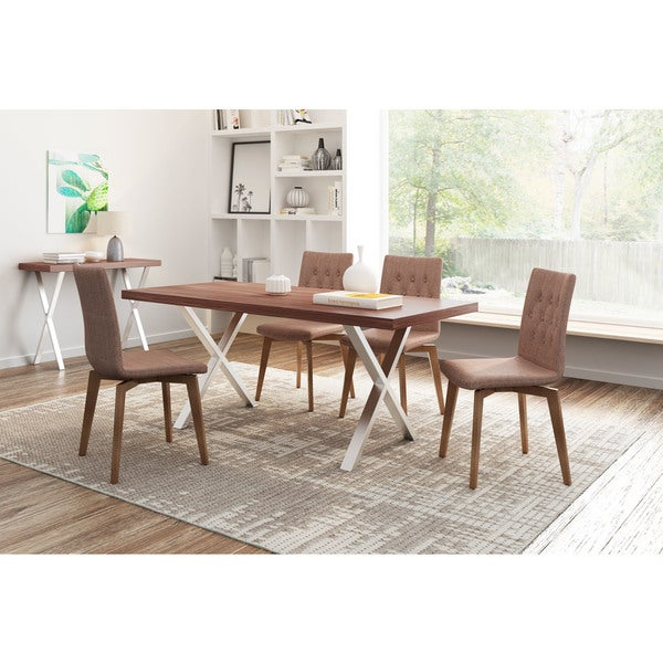 Orebro Wood And Graphite Or Pea Fabric Chair Set Of 2