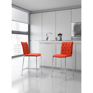 Uppsala Fabric and Chromed Steel Counter Chair (Set of 2)