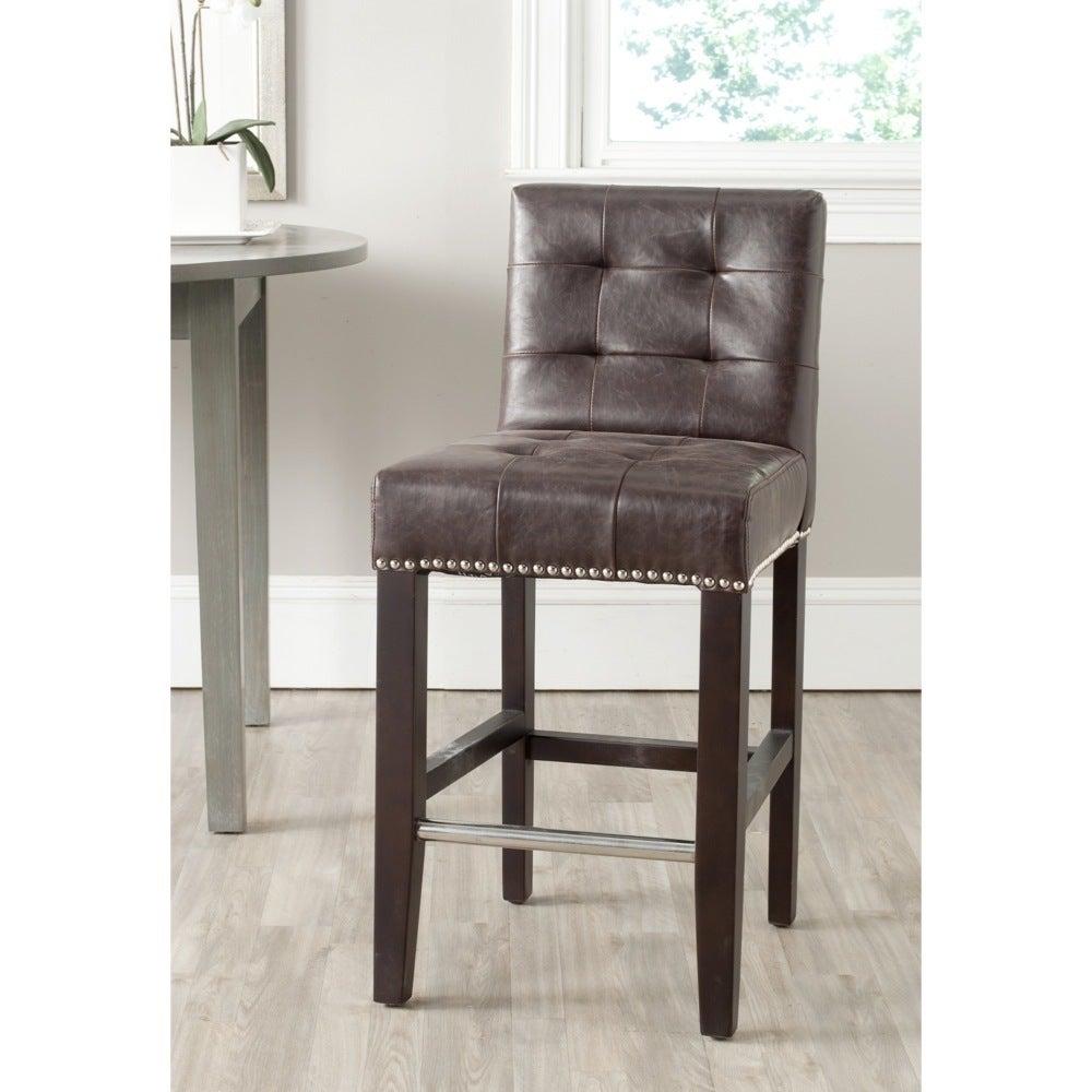 Awe Inspiring Safavieh Thompson Antique Brown 26 Inch Counter Stool 16 7 X 20 1 X 34 4 Bralicious Painted Fabric Chair Ideas Braliciousco
