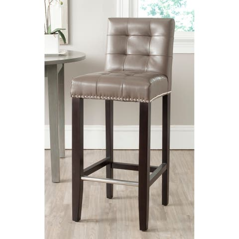 "Safavieh Thompson Clay Leather Bar Stool 30-inch - 16.7"" x 20.1"" x 40.6"""