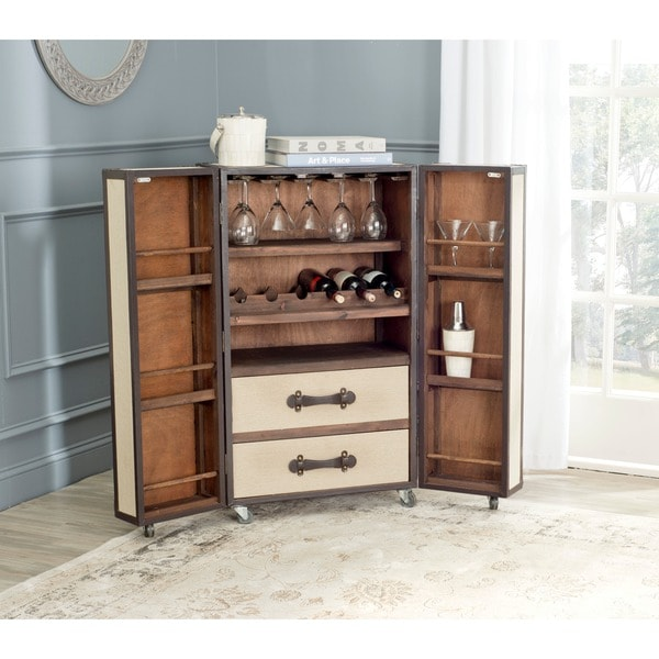 Shop Safavieh Grayson Storage Beige Bar Cabinet Free