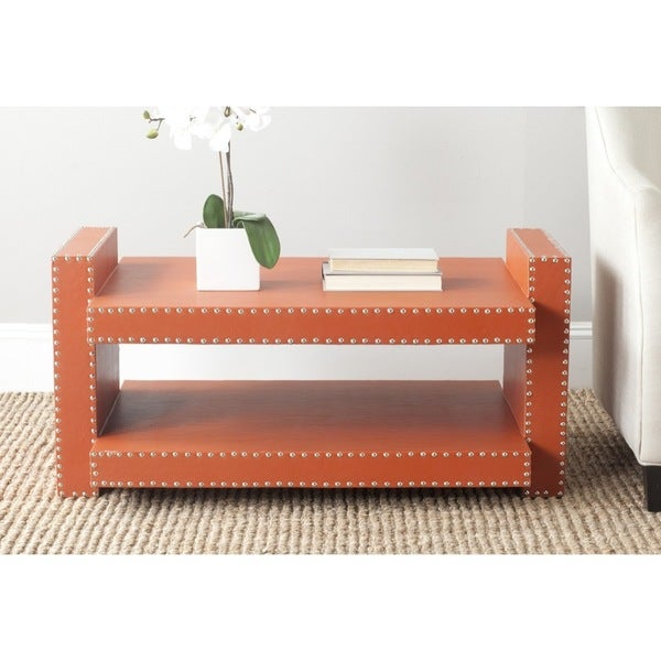 Safavieh garson orange coffee table free shipping today for Orange outdoor side table