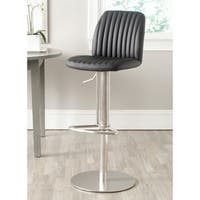 Safavieh 22-32.2-inch Lamont Black Leather Adjustable Swivel Bar Stool