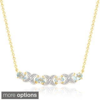 Dolce Giavonna 14k Gold Overlay Gemstone XO Necklace