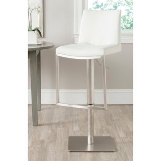 Safavieh 22-31.9-inch Ember White Leather Adjustable Swivel Bar Stool