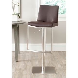 Safavieh Ember Brown Leather Adjustable 22-32-inch Swivel Modern Bar Stool
