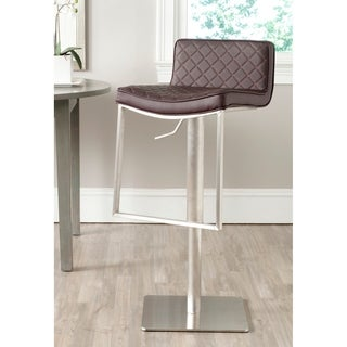 Safavieh Claudio Brown Leather Adjustable 24-33-inch Swivel Modern Bar Stool