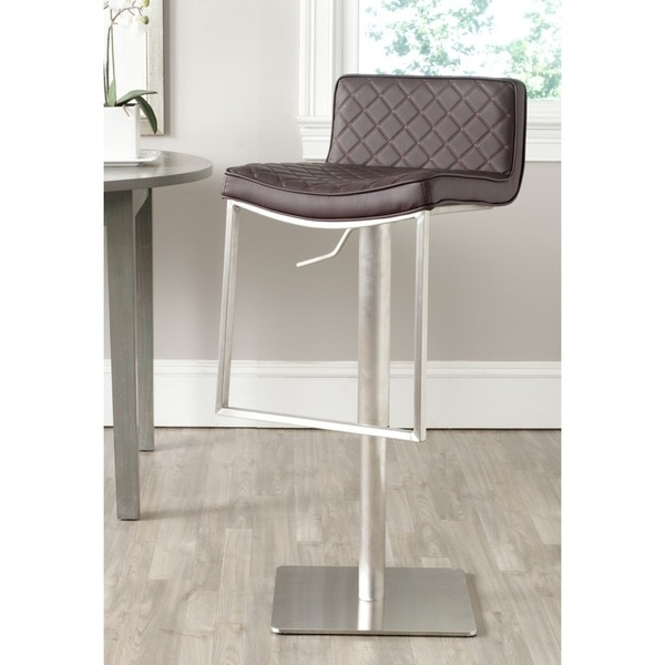 shop safavieh claudio brown leather adjustable 24 33 inch swivel modern bar stool on sale. Black Bedroom Furniture Sets. Home Design Ideas